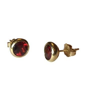 Bezel Set Garnet Stud Earrings