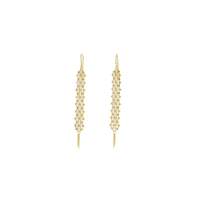 Amali Textile Pearl Weave Earrings