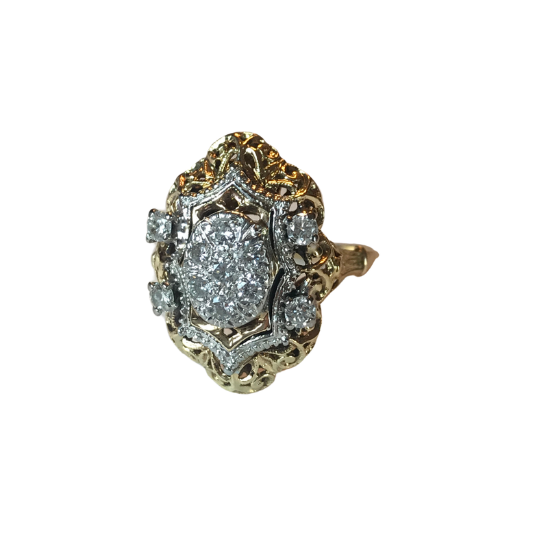 Antique, Estate & Consignment Elongated Diamond Cluster Ring