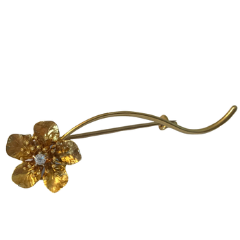 14k Diamond Flower Pin