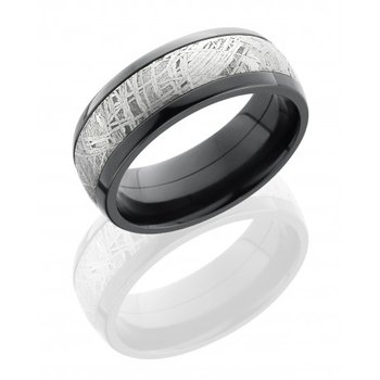 Meteorite Band with Black Zirconium Edges