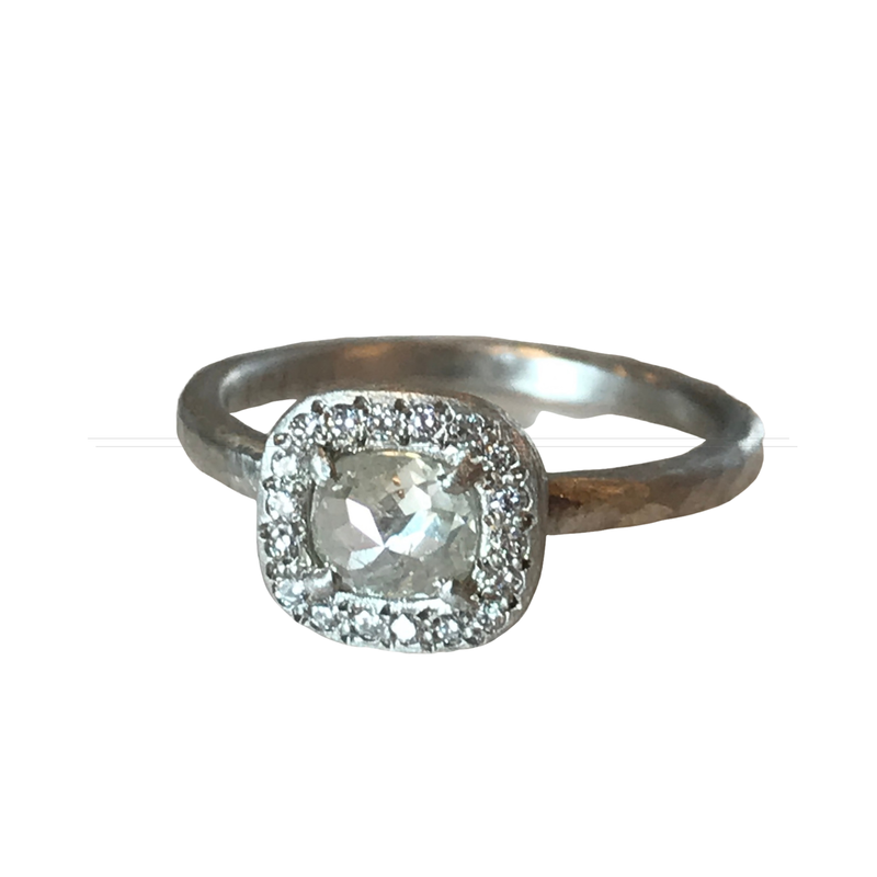 Yasuko Azuma Jewelry Rose Cut Halo Diamond Ring