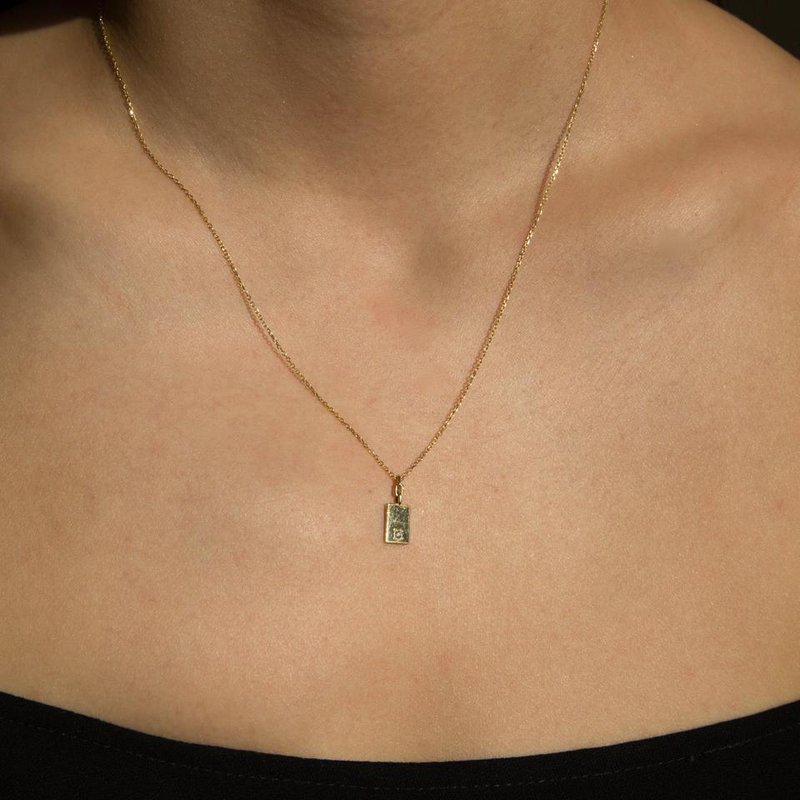 Jennie Kwon Rectangle Diamond Mirror Pendant