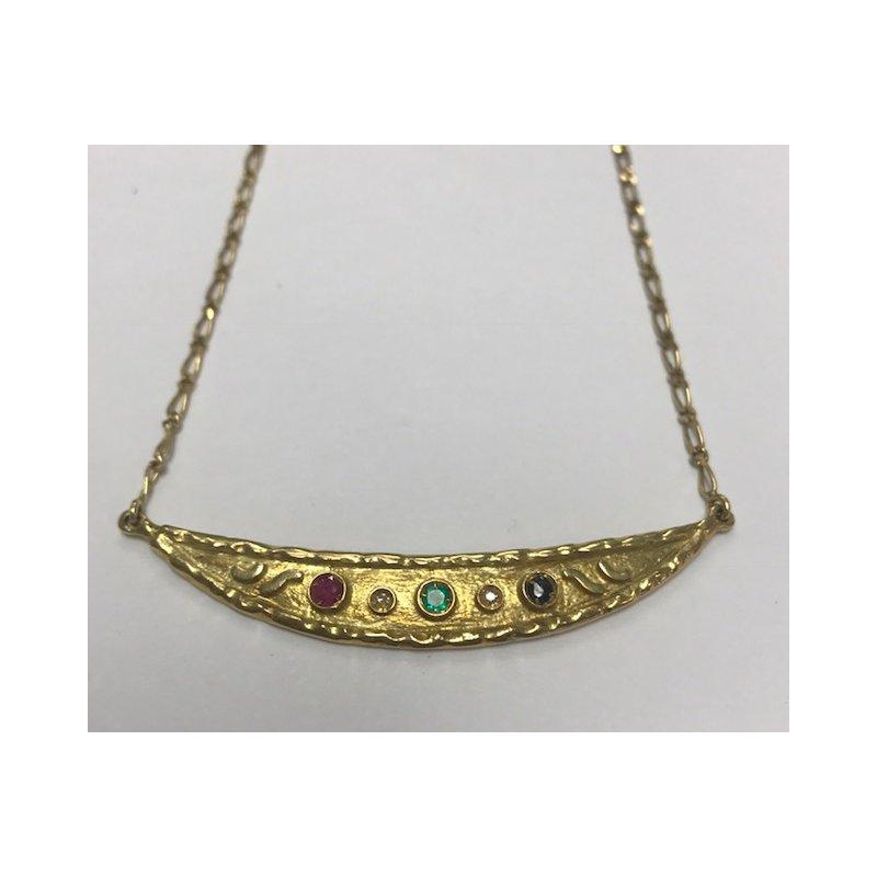 Antique, Estate & Consignment Gold Crescent Gemstone Necklace