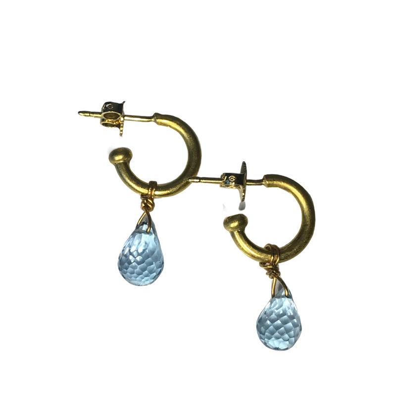 Antique, Estate & Consignment Briolette Blue Topaz Hoop Earrings