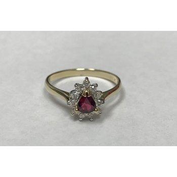 Pear Shaped Ruby & Diamond Ring
