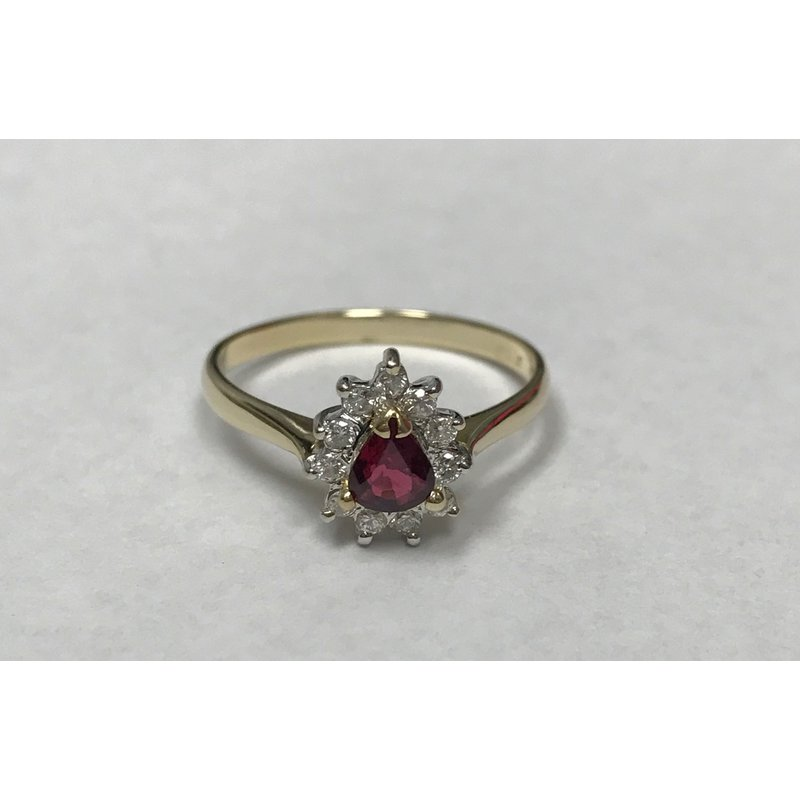 Antique, Estate & Consignment Pear Shaped Ruby & Diamond Ring