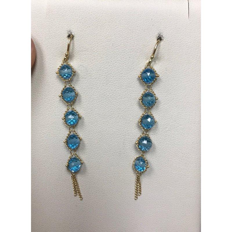 Amali London Blue Topaz Textile Drop Earrings