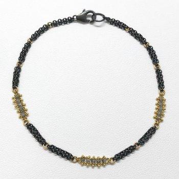Woven Silver Diamond Station Bracelet