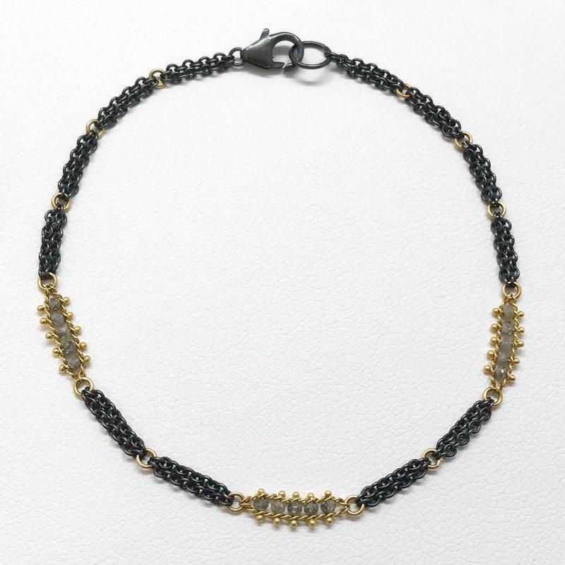 Amali Woven Silver Diamond Station Bracelet
