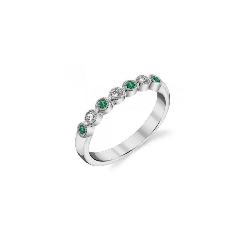 Stanton Color Emerald & Diamond Anniversary Band