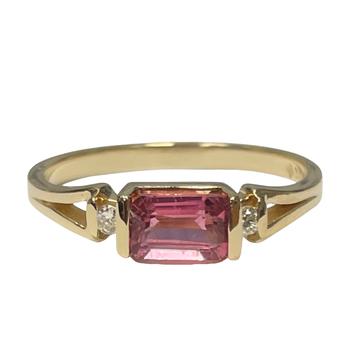 Pink Tourmaline & Diamond Three Stone Ring