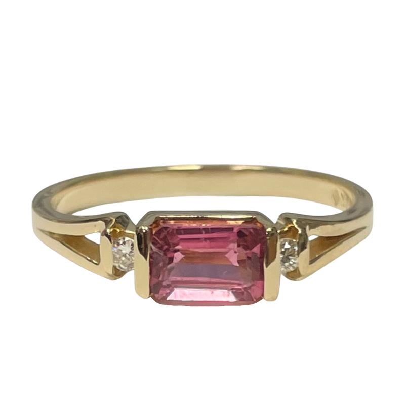 Antique, Estate & Consignment Pink Tourmaline & Diamond Three Stone Ring
