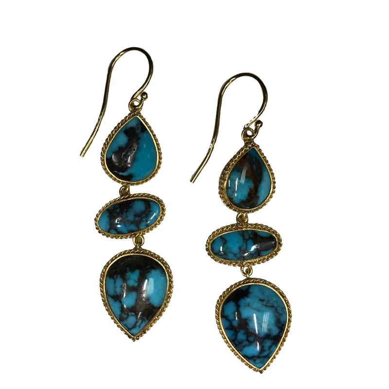 Amali Turquoise Triple Drop Earrings