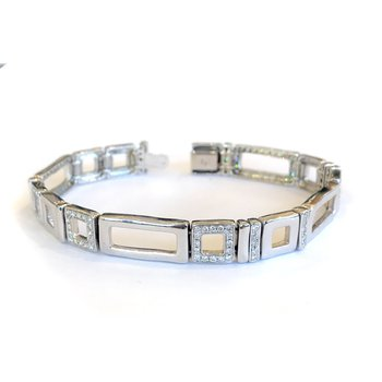 18k Open Link Diamond Bracelet