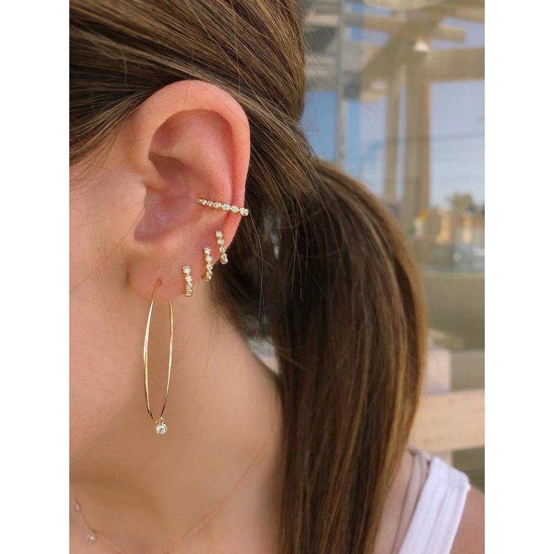 EF Collection Diamond Mini Bezel Huggie Earring