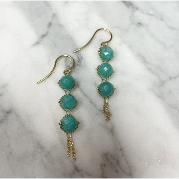 Amazonite Triple Drop Textile Earrings