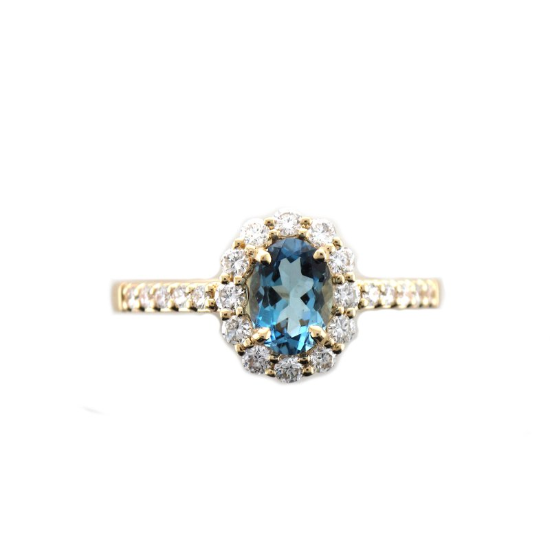 Hurdle's Jewelry Collection Aquamarine & Diamond Halo Ring