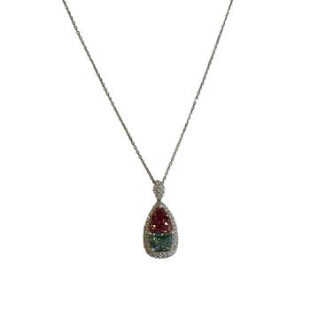 Blue Topaz, Spinel & Diamond Necklace