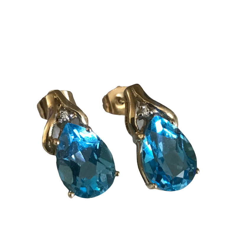 Antique, Estate & Consignment Blue Topaz & Diamond Earrings