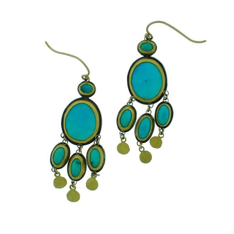 Ananda Khalsa Jewelry Turquoise Chandelier Earrings
