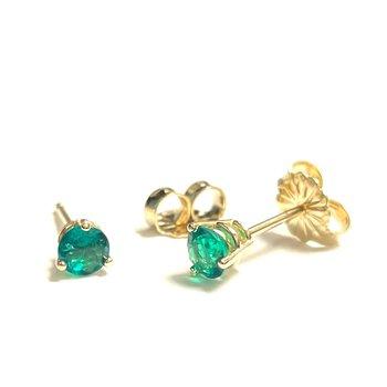 0.36 Carat Emerald Stud Earrings