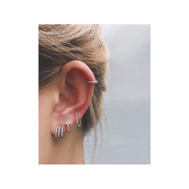 EF Collection Diamond Huggie Earring