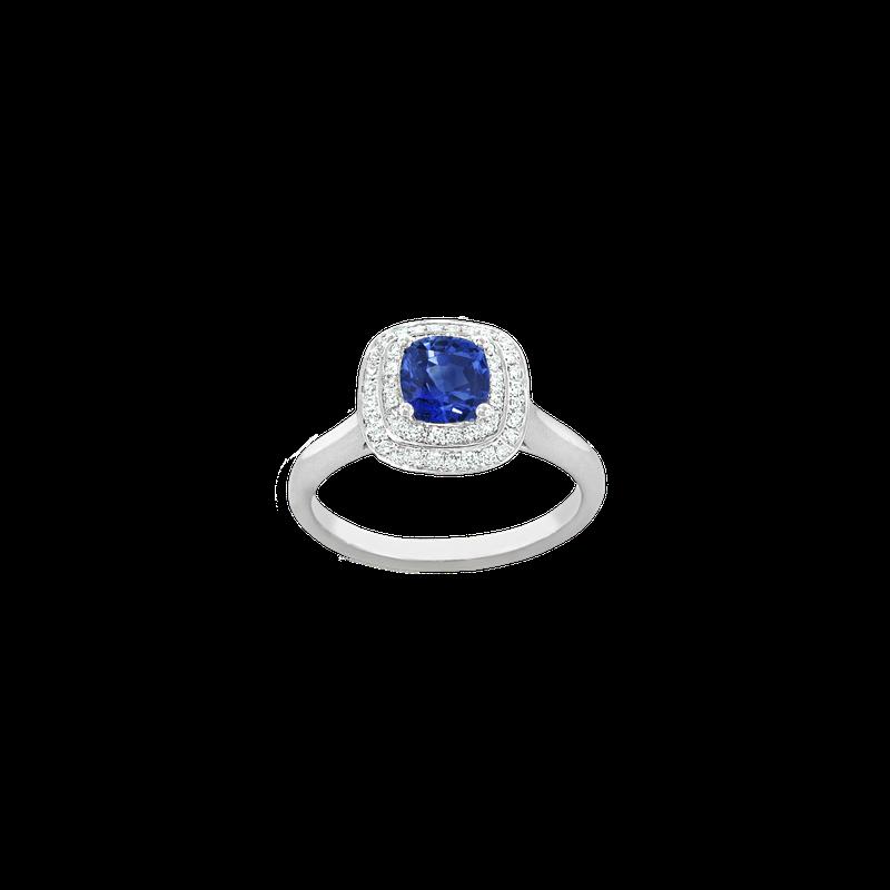 Spark Creations Double Halo Sapphire & Diamond Ring