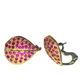 Ruby Pave Leaf Earrings