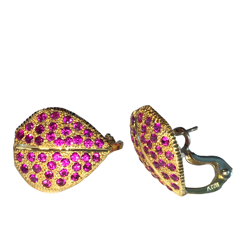 Antique, Estate & Consignment Ruby Pave Leaf Earrings