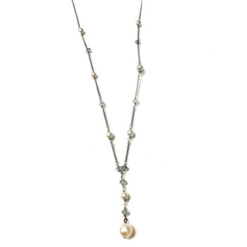 Pearl & Sapphire Y Necklace