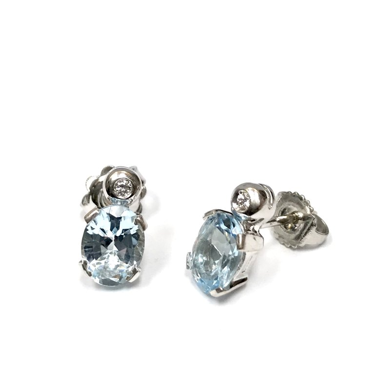 Antique, Estate & Consignment Aquamarine & Diamond Earrings