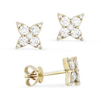 Yellow Gold Diamond Star Cluster Earrings