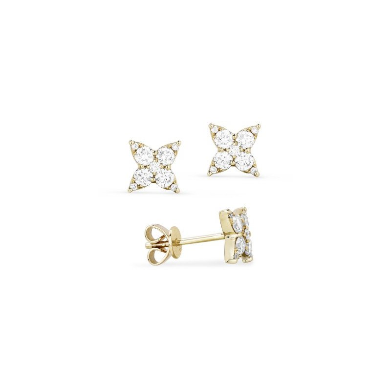 Madison L Yellow Gold Diamond Star Cluster Earrings