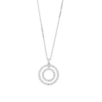 Double Circle Diamond Necklace