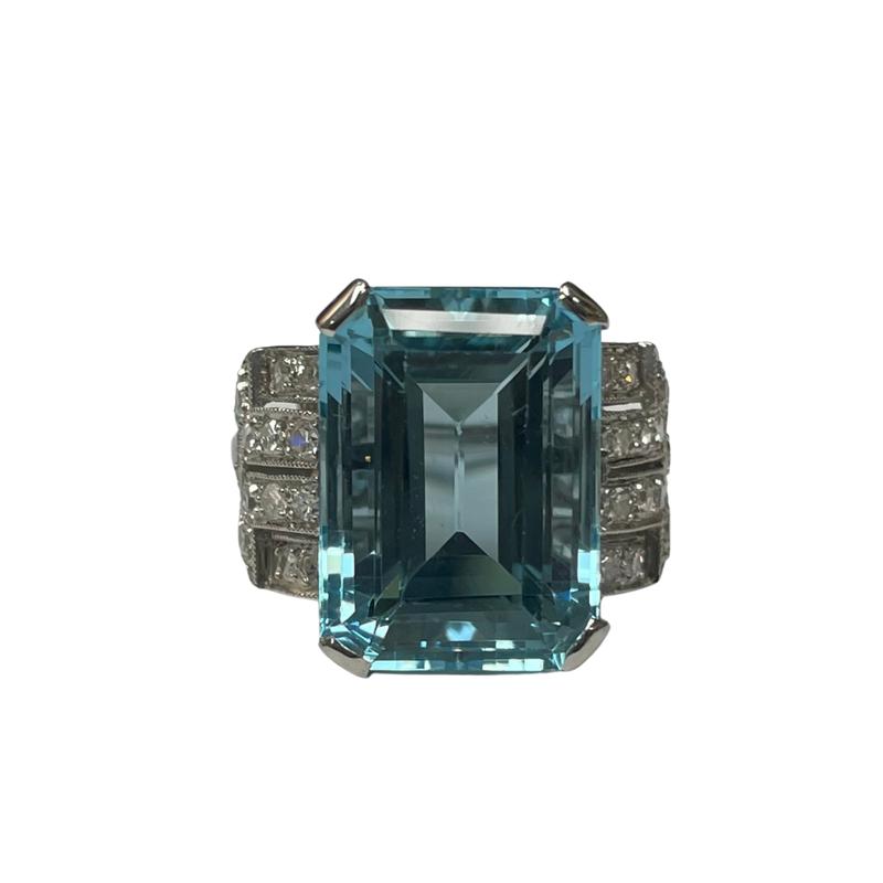 Antique, Estate & Consignment Aquamarine & Diamond Cocktail Ring
