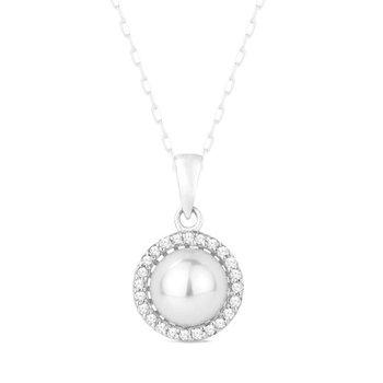 Pearl & Diamond Halo Necklace