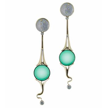 Chrysoprase & Diamond Earrings