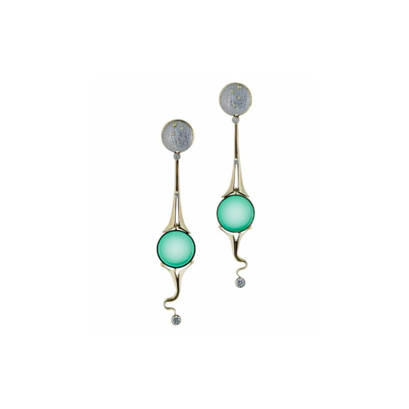 Richard Kimball Chrysoprase & Diamond Earrings