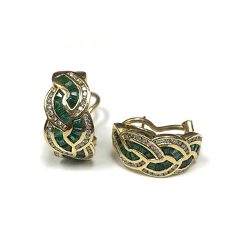 18k Emerald & Diamond Huggie Earrings