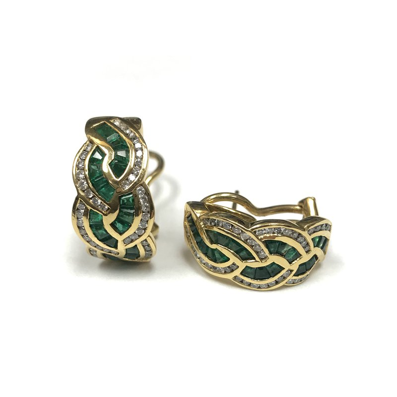 Antique, Estate & Consignment 18k Emerald & Diamond Huggie Earrings