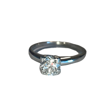 Platinum European Cut Solitaire Ring