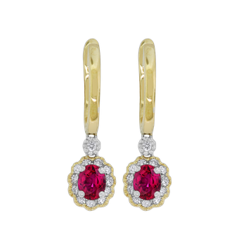 Ruby & Diamond Dangle Earrings