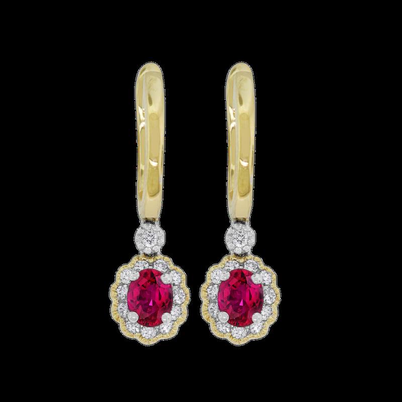 Spark Creations Ruby & Diamond Dangle Earrings