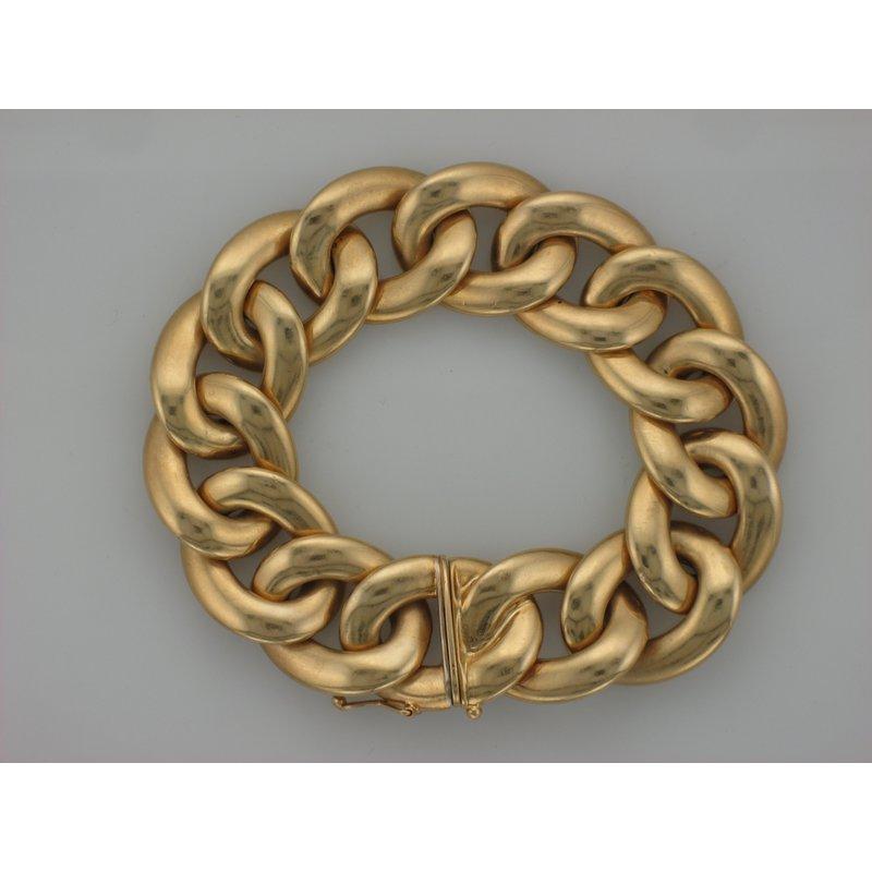 Antique, Estate & Consignment Large Flat Curb Link Gold Bracelet