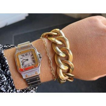 Large Flat Curb Link Gold Bracelet