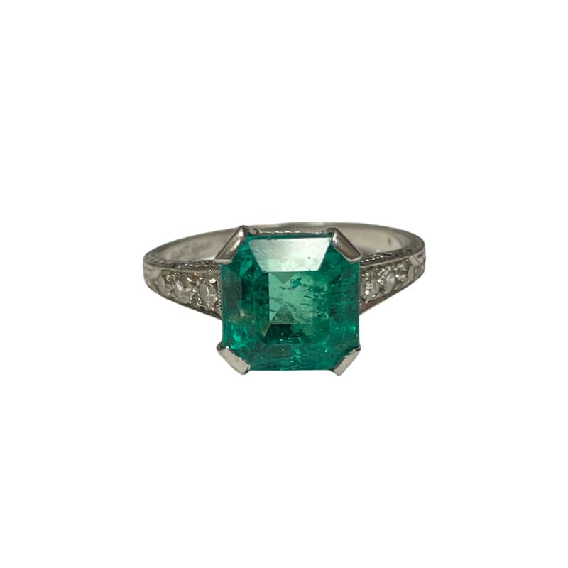 Antique, Estate & Consignment Vintage Platinum Emerald & Diamond Ring