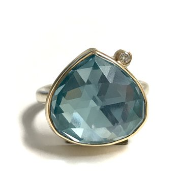 Sky Blue Topaz & Diamond Ring