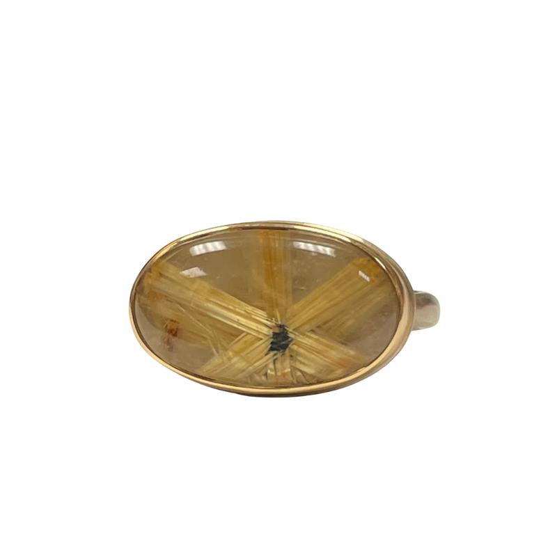 Jamie Joseph Oval Smooth Star Rutilated Quartz Ring