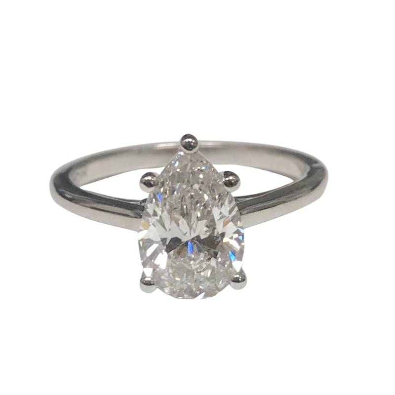 Hurdle's Jewelry Collection 2.01 Carat Pear Shape Diamond Engagement Ring